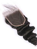 1 pedazo liberan el pelo brasileño virginal de la onda floja del cierre del pelo el color natural del pelo del cierre del cordón de la
