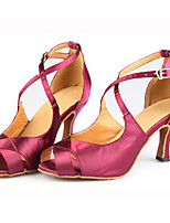 Women's Latin Silk Sandals Performance Criss-Cross Stiletto Heel Drak Red 3