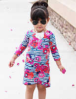 Girl's Floral Dress Cotton Spring Fall Long Sleeve Striped Front Short Back Long Kids Girls Dress 1-5Y   Autumn Winter Children Clothes
