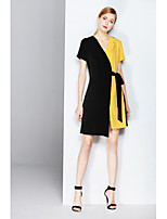 ZIYI Women's Holiday Going out Casual/Daily Simple Loose DressColor Block V Neck Above Knee Asymmetrical Short Sleeve Polyester Others Summer
