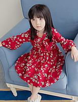 Girl's Floral Dress,Polyester Spring Fall Long Sleeve