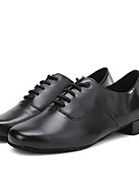 Men's Latin Real Leather Flats Sneakers Indoor Splicing Low Heel Black Under 1