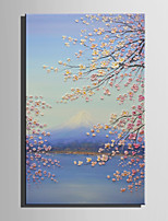 Mini Size E-HOME Oil painting Modern Cherry Blossom And Snow Mountain Pure Hand Draw Frameless Decorative Painting