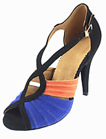 Women's Latin Fleece Sandals Performance Buckle Stiletto Heel Blue 3