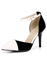 Women's Shoes Heels Comfort Leatherette Spring Fall Casual Party & Evening Dress Comfort Buckle Stiletto Heel Almond White 3in-3 3/4in