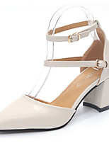 Damen High Heels Pumps Lackleder PU Sommer Normal Kleid Walking Pumps Blockabsatz Block Ferse Beige 12 cm & mehr