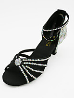 Women's Dance Shoes Satin Latin Sandals Chunky Heel Professional Black