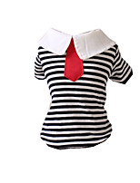 Dog Shirt / T-Shirt Dog Clothes Casual/Daily Stripe Black/White Ruby