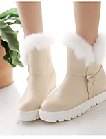 Women's Shoes Nubuck leather PU Fall Winter Comfort Boots For Casual White Beige Blushing Pink