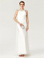 TS Couture Formal Evening Dress - Open Back Celebrity Style Sheath / Column Bateau Sweep / Brush Train Chiffon withCrystal Detailing