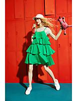 Manches Ajustées Robes Costumes Femme,Couleur Pleine Quotidien Décontracté Moderne Eté Manches Courtes Col Arrondi