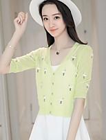 Women's Daily Short Cardigan,Animal Print V Neck Half Sleeve Knitwear Summer Fall Thin Micro-elastic