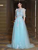 A-Line High Neck Court Train Lace Satin Tulle Prom Formal Evening Dress with Beading Flower(s) Lace Pearl Detailing Bandage by