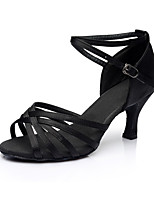 Women's Latin Silk Sandals Indoor Customized Heel Black Customizable