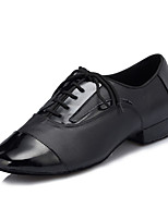 Men's Latin Real Leather Flats Performance Criss-Cross Chunky Heel Black Under 1
