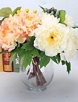 7 Une succursale Mousse de polystyrène Plastique Polyuréthane Contact réel Hortensias Pivoines Plantes Fleur de Table Fleurs artificielles