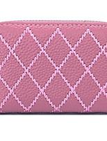 Women Money Clip Cowhide All Seasons Casual Rectangle Zipper Blushing Pink Ruby Purple