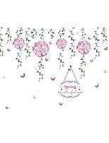 Floral/Botânico Romance Moda Adesivos de Parede Autocolantes de Aviões para Parede Autocolantes de Parede Decorativos,Papel Material