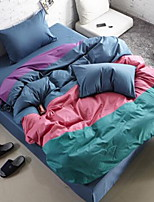Color Block 4 Piece Cotton Cotton 1pc Duvet Cover 2pcs Shams 1pc Flat Sheet