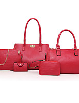 Women Tote PU All Seasons Casual Office & Career Rectangle Zipper Red Black Gold Blue