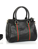 Women Tote Cowhide All Seasons Event/Party Casual Formal Office & Career Oval Ribbon Zipper Black