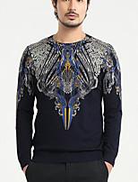 Standard Pullover Da uomo-Casual Con stampe Rotonda Manica lunga 58% Wool42% Viscosa Autunno Sottile Media elasticità