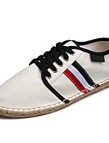 Для мужчин Кеды Удобная обувь Полиуретан Весна Лето Повседневные На низком каблуке Белый Черный Менее 2,5 см