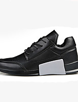 Men's Sneakers Comfort Spring Fall PU Walking Shoes Casual Lace-up Flat Heel White Black Black/White 2in-2 3/4in