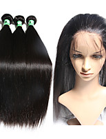 360 Lace Frontal Closure with Bundles Peruvian Straight Human Hair Weaves 3 Bundles with 360 Frontal Closure