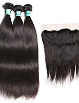 3 Bundles Brazilian Virgin Straight Hair with 13X4 Lace Frontal Closure Unprocessed Human Hair Weaves with Lace Frontal