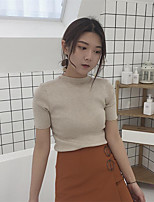 Women's Daily Simple Short Pullover,Solid Round Neck Short Sleeve Faux Fur Summer Thin Micro-elastic