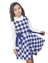 Girl's Plaid/Check Dress,Cotton All Seasons Sleeveless