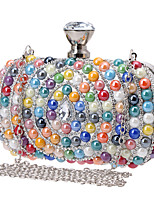 Women Evening Bag Polyester All Seasons Wedding Event/Party Formal Minaudiere Rhinestone Clasp Lock Rainbow Gold