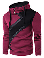 Men's Sports Casual/Daily Simple Street chic Punk & Gothic Hoodie Solid Color Block Hooded Micro-elastic Cotton Long Sleeve Fall Winter