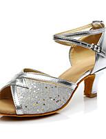Women's Latin Leatherette Heels Performance Cuban Heel Silver 1
