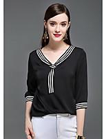 Damen Solide Boho Anspruchsvoll Lässig/Alltäglich T-shirt,V-Ausschnitt Sommer 3/4 Ärmel Seide Dünn