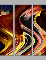 IARTS® Hand Painted Abstract Brown Colorful Wave Lines Oil Painting Set of 3 with Stretched Frame Picture For Home Decoration Ready To Hang
