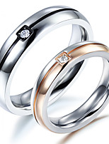 Couple's Rings  Simple  Elegant Cubic Zirconia Titanium Steel Ring Jewelry For Wedding Anniversary Party
