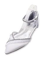 Для женщин Свадебная обувь Удобная обувь Туфли д'Орсе Сатин Весна Лето Свадьба Для праздника Для вечеринки / ужинаСтразы Кружева Оборки