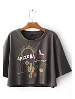 Damen Druck Einfach Aktiv Sport Lässig/Alltäglich T-shirt,Rundhalsausschnitt Sommer Herbst Ärmellos Seide Baumwolle Leinen Dünn Mittel