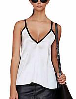 T-shirt Da donna Per uscire Casual Sensuale Semplice Primavera Estate,Monocolore A V Poliestere Senza maniche Medio spessore
