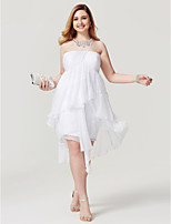 Sheath / Column Jewel Neck Asymmetrical Chiffon Cocktail Party Homecoming Dress with Beading by TS Couture®