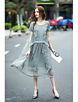 REVIENNE BAY Women's Plus Size Holiday Going out A Line DressSolid Round Neck Midi Short Sleeve Silk Spring Summer Mid Rise Inelastic Medium