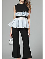 Women's Casual/Daily Casual Summer T-shirt Pant Suits,Solid Color Block Round Neck Sleeveless