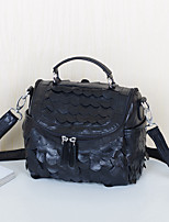 Women Shoulder Bag Sheepskin All Seasons Casual Oval Split Joint Zipper Black