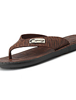 Men's Slippers & Flip-Flops Comfort Light Soles PU Spring Fall Casual Comfort Light Soles Flat Heel Dark Brown Dark Brown Under 1in