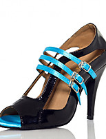 Women's Latin Silk Sandals Performance Buckle Stiletto Heel Black/Blue 3