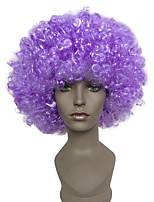 Capless  Purple Afro Short Wig Kinky Curly Synthetic Halloween Clown Costume Wig