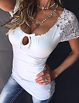 Women's Casual/Daily Sexy Summer T-shirt,Solid U Neck Short Sleeve Others Thin