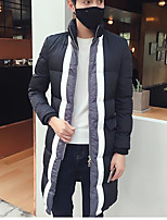 Men's Padded Coat,Simple Active Daily Casual Solid Striped Color Block-Cotton Cotton Long Sleeve